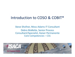 Introduction to COSO & COBIT®