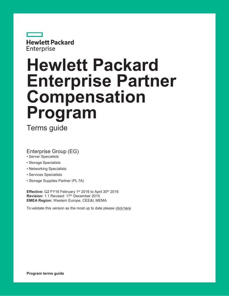 Hewlett Packard Enterprise Partner Compensation Program