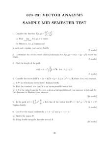 620–231 VECTOR ANALYSIS SAMPLE MID SEMESTER TEST