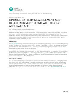Optimize Battery Measurement and Cell-Stack Monitoring