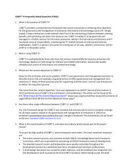 COBIT® 5 Frequently Asked Questions (FAQs)