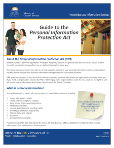 Guide to the Personal Information Protection Act