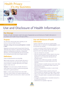 Use and Disclosure of Health Information
