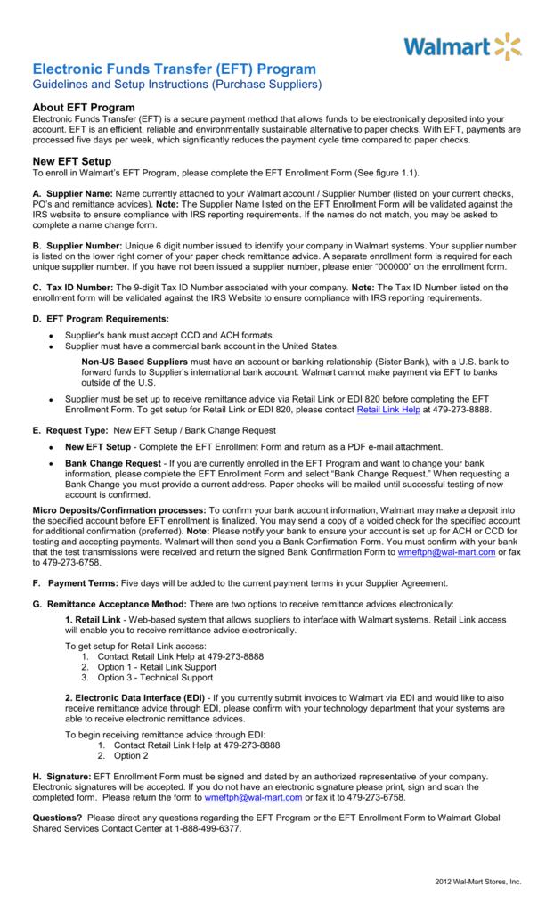 Electronic Funds Transfer (EFT) Program