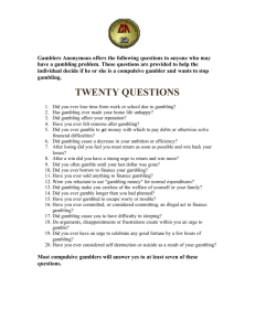 Gamblers Anonymous 20 Questions