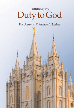 Fulfilling My Duty to God: For Aaronic Priesthood Holders