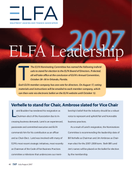 Verhelle to stand for Chair, Ambrose slated for Vice Chair 2007