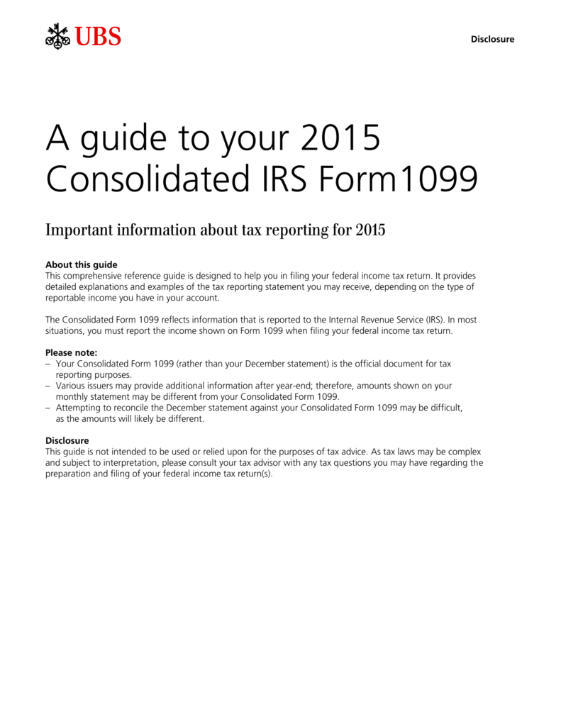 A Guide To Your 2015 Consolidated Irs Form1099