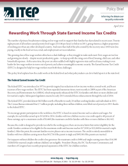 Rewarding Work Through State Earned Income Tax Credits