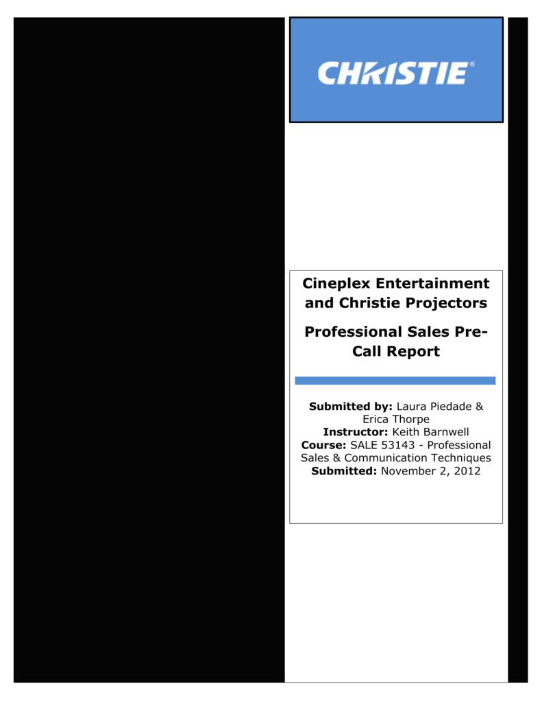 Professional Sales Pre-Call Report