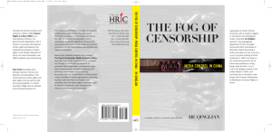 THE FOG OF CENSORSHIP - HRIC book