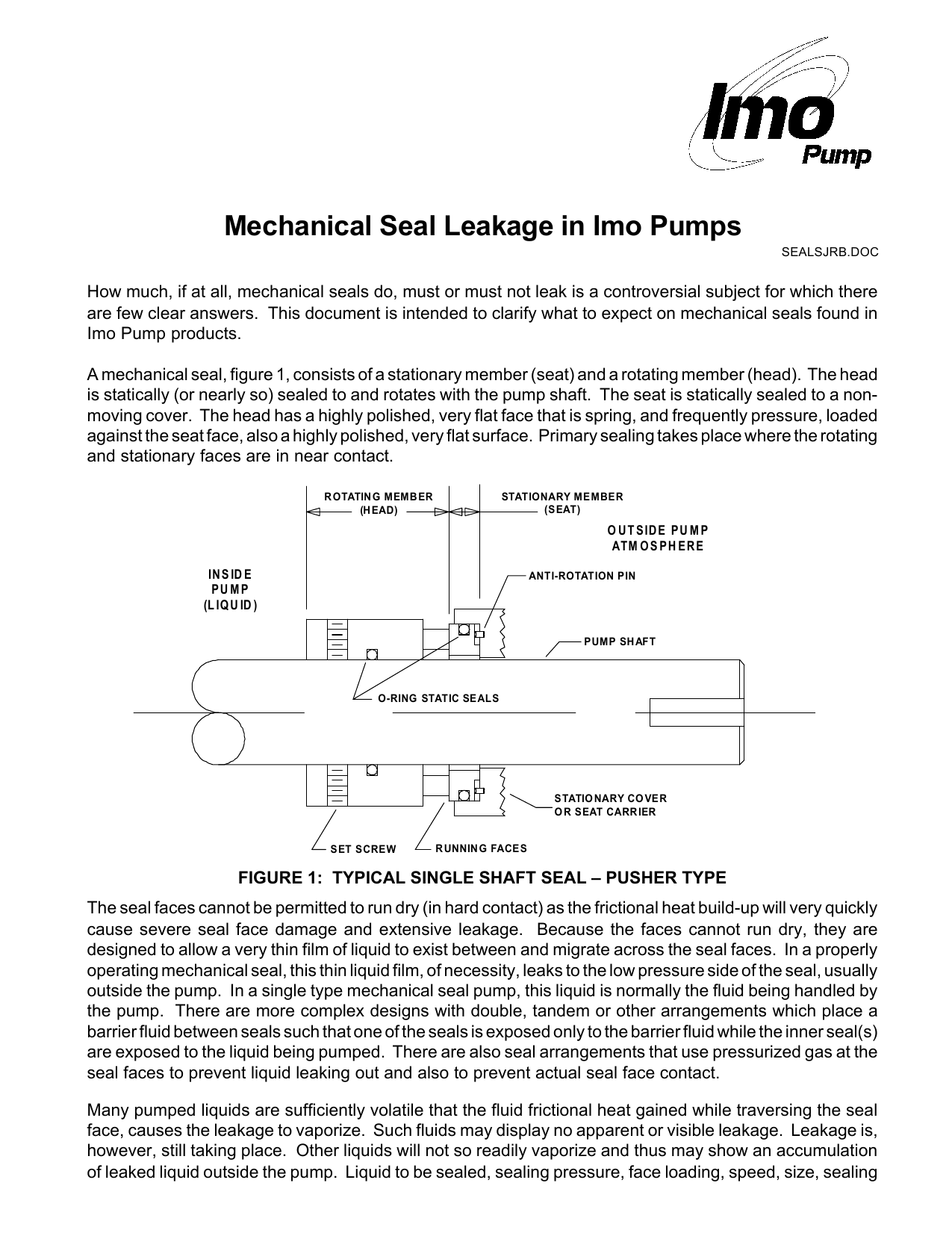 Mechanical Seal Leakage in Imo Pumps