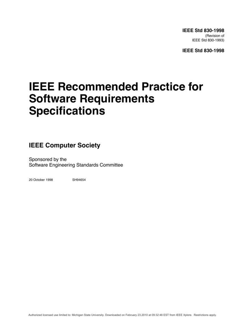 Ieee Software Requirements Specification Template Srs