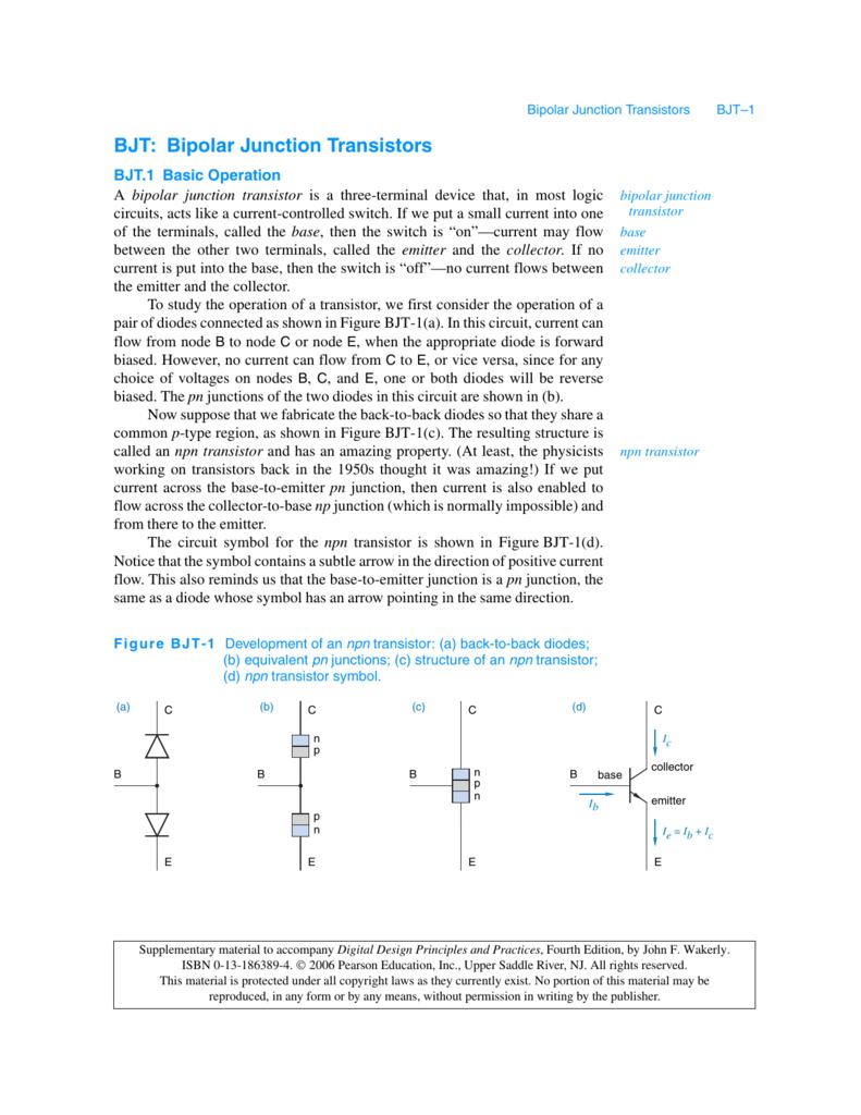 Bjt Bipolar Junction Transistors Digital Design Principles And Input Output Coupling Electronics