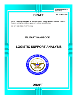 LOGISTIC SUPPORT ANALYSIS DRAFT DRAFT