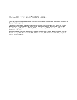 The ACR's Five Things Working Groups