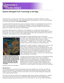 Systems Biologists Push Technology to the Edge