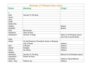 Meanings of Ethiopian Boys names Name Meaning Origin