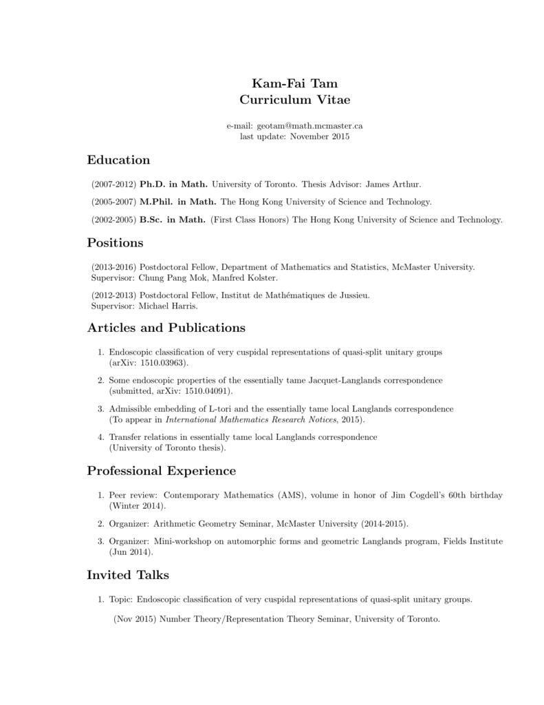 CV - Department of Mathematics & Statistics | McMaster