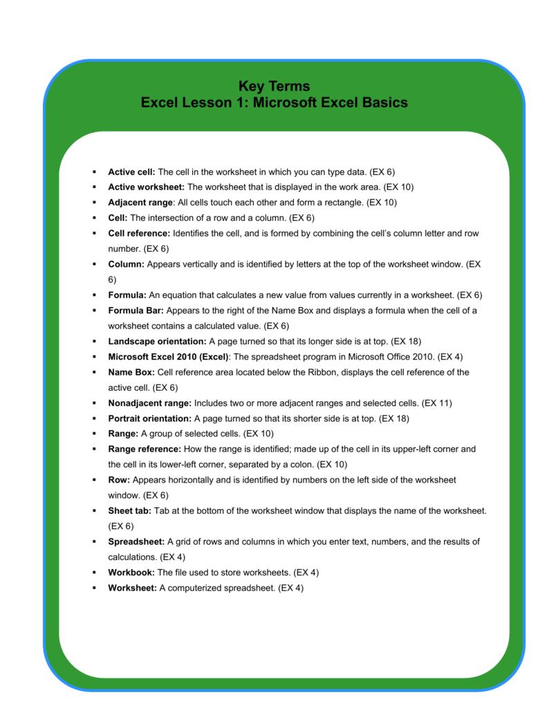 key terms excel lesson 1  microsoft excel basics