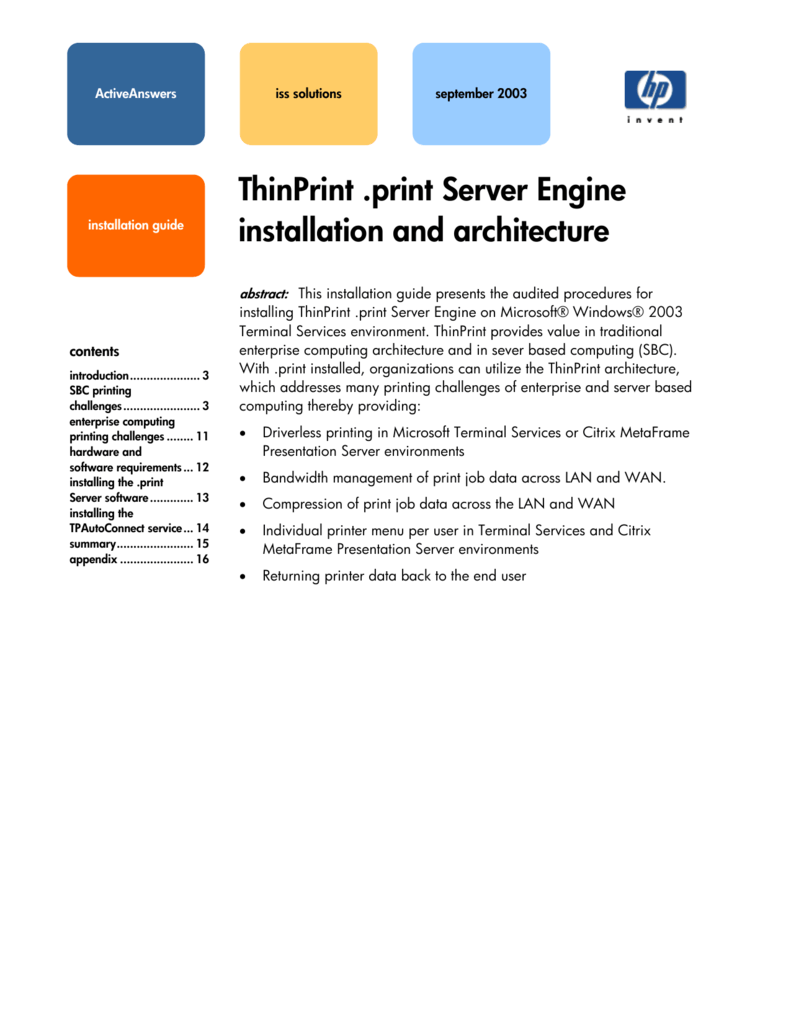 ThinPrint  print Server Engine installation and architecture