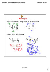 section 9.4 Proportion Word Problems.notebook