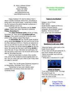 December Newsletter 4th Grade 2015 Cougar Classic December 3