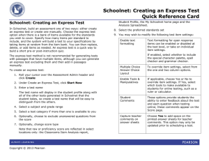 Schoolnet: Creating an Express Test Quick Reference Card