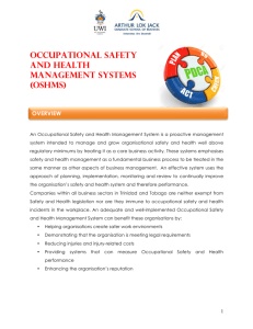 Occupational Safety AND health management systems (OSHMS)