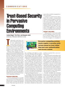 Trust-Based Security in Pervasive Computing Environments