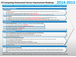 ITS Computing Environment Service Improvement Roadmap, 2014