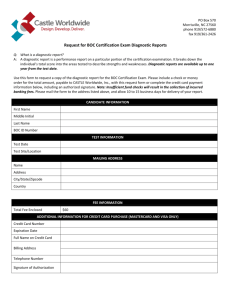 Request for BOC Certification Exam Diagnostic Reports