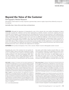Beyond the Voice of the Customer, Ethnographic Market Research