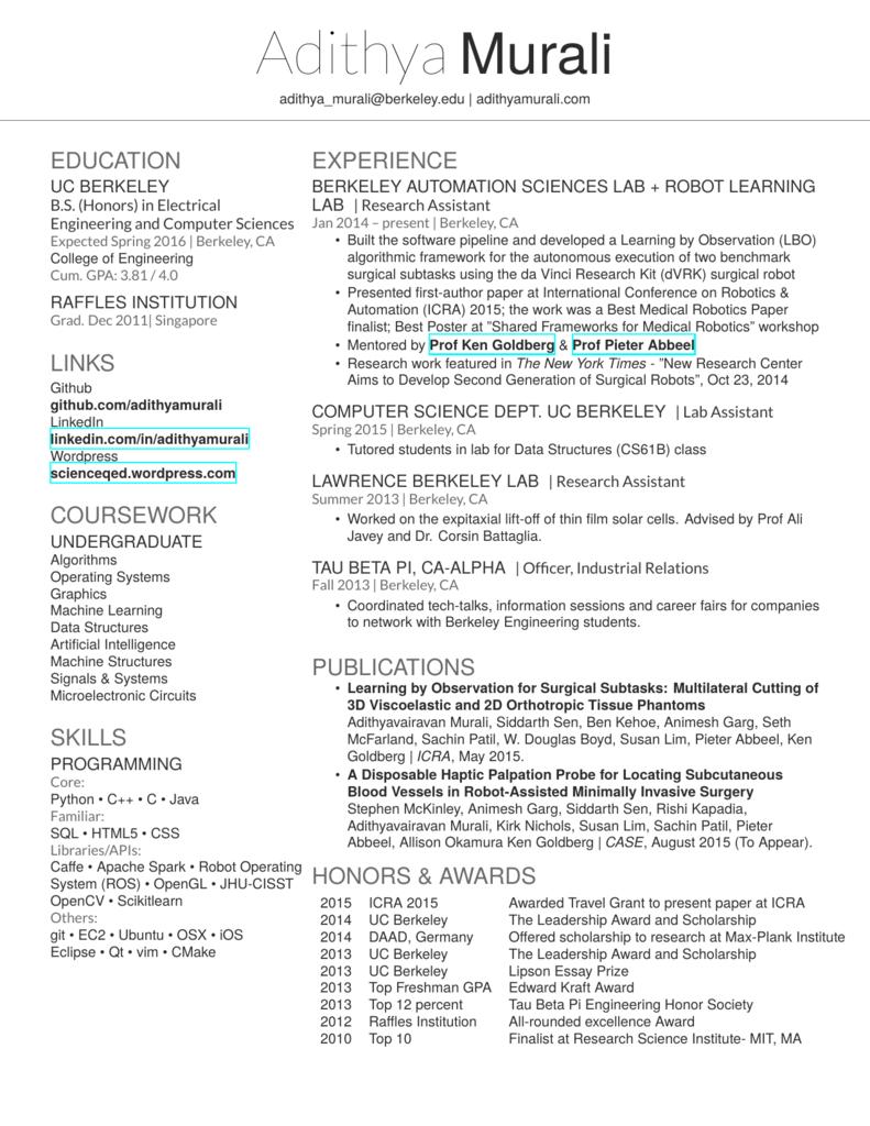 Resume - Adithya Murali