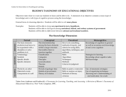 Bloom's Taxonomy - Center for Innovation in Teaching and Learning