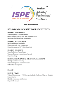 SIX SIGMA BLACK BELT COURSE CONTENTS
