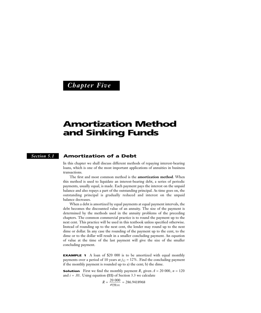 chapter 5 amortization method and sinking funds