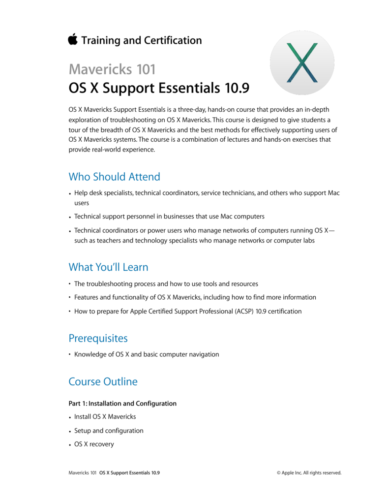 Os X Support Essentials 109 Course Description Training