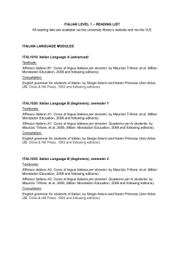 ITALIAN LEVEL 1 – READING LIST All reading lists are available via