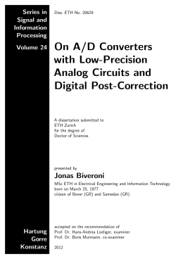 On A/D Converters with Low-Precision Analog - ETH E