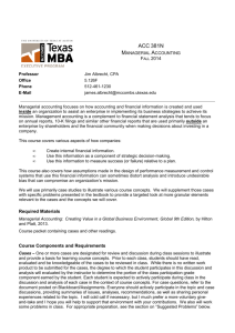 Managerial Accounting - McCombs School of Business