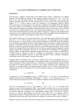 E. MAGNETIC PROPERTIES OF COORDINATION COMPOUNDS