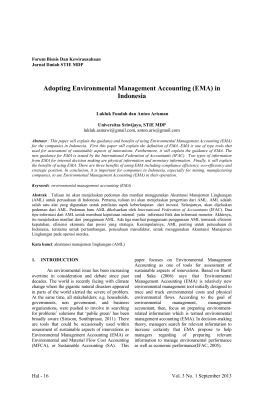 Adopting Environmental Management Accounting (EMA) in Indonesia