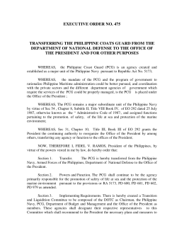 EXECUTIVE ORDER NO. 475 TRANSFERRING THE PHILIPPINE