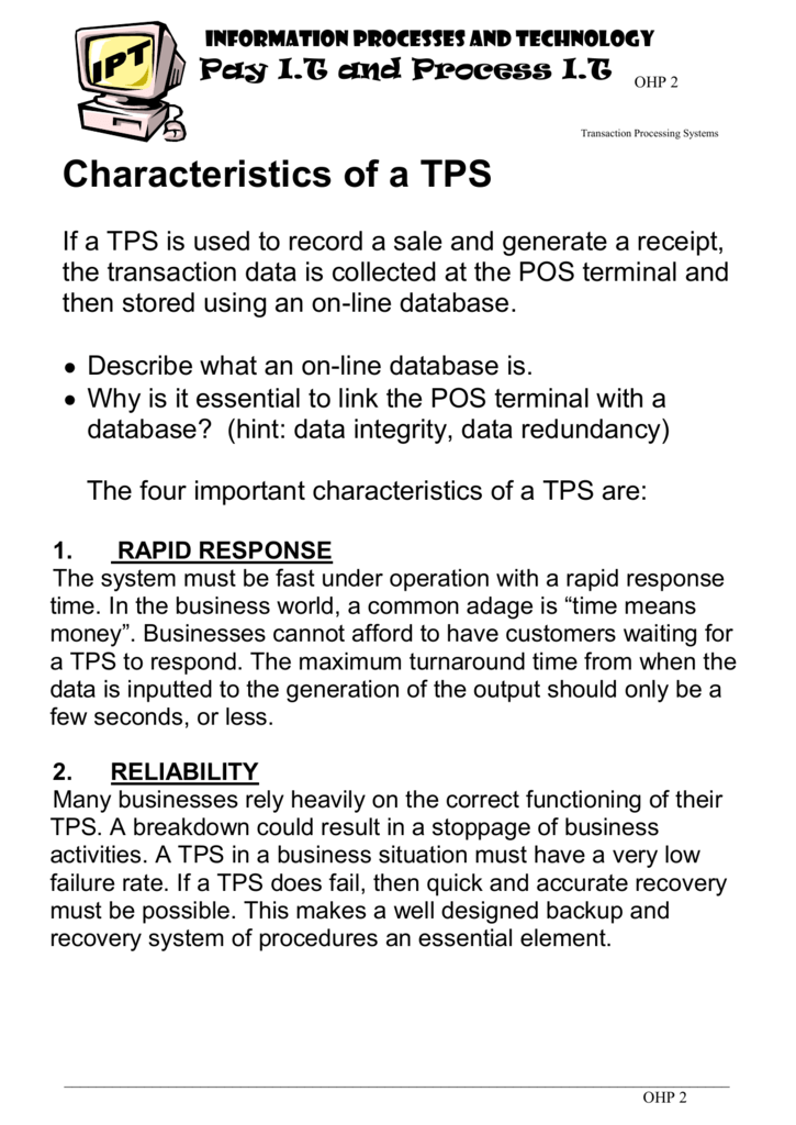 What Is Tps >> Characteristics Of A Tps