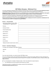 BHP Billiton Shareplus – Withdrawal Form