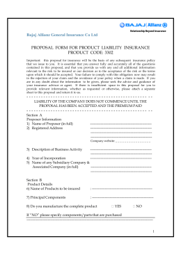 Bajaj Allianz General Insurance Co Ltd PROPOSAL FORM FOR