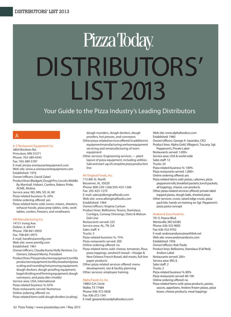 distributors' list 2013