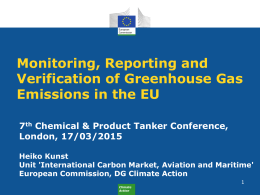 Monitoring, Reporting and Verification of Greenhouse Gas