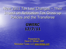New 2011 Tax Law Changes – Their Impact on Relocation